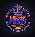 neon sign halloween party with cemetery vector image vector image