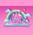 open fairy tale book with city landscape vector image