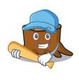 playing baseball tree stump character cartoon vector image vector image