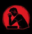 prayer christian praying thank you god vector image vector image