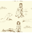 Seamless pattern with women on the beach vector image vector image