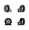 seasonal tyre fitting simple related icons vector image
