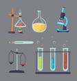 set - chemical test flat design chemistry vector image vector image