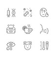 set line icons cold and flu vector image vector image