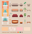 set of domestic living room elements and vector image vector image