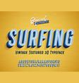 surfing vintage original 3d alphabet vector image