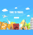 time to travel landing page template travel vector image vector image