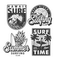 vintage monochrome surfing prints set vector image
