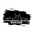 warsaw skyline silhouette hand drawn sketch vector image vector image