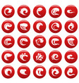 water wave icons set vetor red vector image