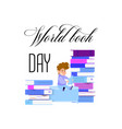 world book day holiday poster - flat design vector image
