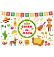 cinco de mayo celebration in mexico icons set vector image