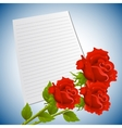 Greeting or invitation card with bouquet of red vector image