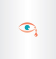 human eye cry tear icon vector image