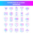 25 blue and pink futuro banking icon pack vector image