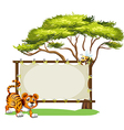 A tiger beside the empty signage vector image vector image