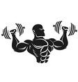 athlete with dumbbells silhouette vector image vector image