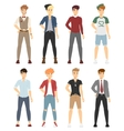 Beautiful cartoon fashion boy models look vector image