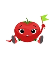Big Eyed Cute Girly Tomato Character Sitting vector image vector image