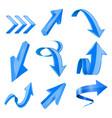 blue 3d shiny arrows vector image vector image