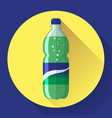 bottle of soda with green lable vector image vector image