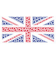 british flag mosaic of oak leaf icons vector image vector image