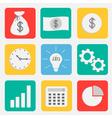 Business icon set flat design style Dollar money vector image