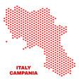 campania region map - mosaic of love hearts vector image vector image
