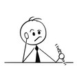cartoon businessman thinking hard with pen in vector image vector image