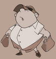 Cartoon character fat man with bags in his hands