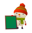 cartoon cute snowman with message board isolated vector image vector image