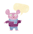 cartoon mouse in clothes with speech bubble vector image vector image