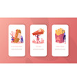 characters and fast food mobile app page onboard vector image