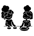 children cooking icon black vector image