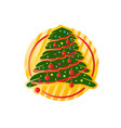 christmas tree with circle vector image vector image