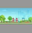 city public park with kids playground on vector image vector image