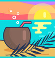 cocktail and sunset beach vector image vector image