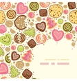 Colorful cookies corner pattern background vector image vector image