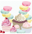 Cupcakes and Macaroons on dotted retro background vector image vector image