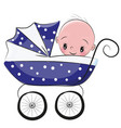 cute cartoon baby boy is sitting on a carriage vector image vector image