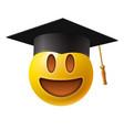 cute smiling emoticon wearing mortar board emoji vector image