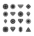 diamonds icons or shapes isolated on white vector image vector image