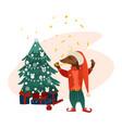 dog character near christmas tree vector image