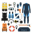 equipment for scuba diving in a flat style vector image vector image