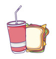 fast food sandwich and disposable soda cup cartoon vector image