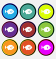 fish icon sign Nine multi colored round buttons vector image vector image