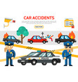 flat road accident icons set vector image vector image