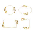 frames with leaves in gold color vector image vector image