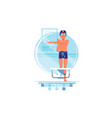 happy man coaches and swimmers have warm up vector image vector image