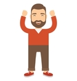 Happy man with joy on his face held up his hands vector image